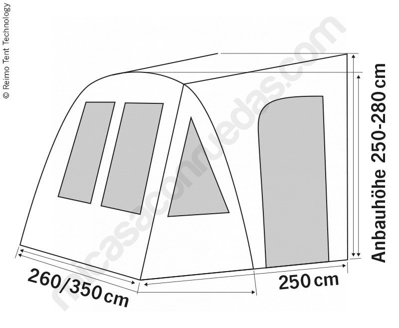 Avancé inflable per a Campers FORD TRANSIT y FIAT DUCATO mides